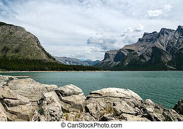 Scenic Lake Minnewanka - Lake Minnewanka, Banff National...