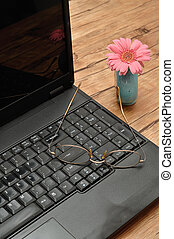 Laptop with reading glasses and a pink Gerbera in a blue flower pot