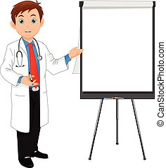 young doctor and blank sign - vector illustration of young...