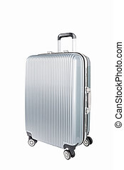silver travel luggage isolated - silver travel plastic...