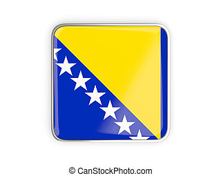 Flag of bosnia and herzegovina, square icon with metallic...