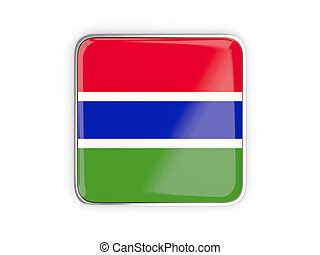 Flag of gambia, square icon with metallic border 3D...