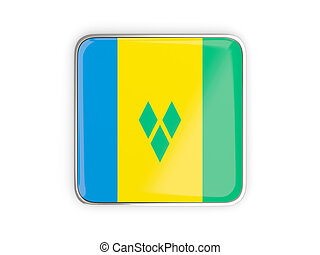 Flag of saint vincent and the grenadines, square icon with...