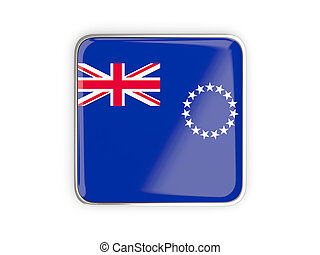 Flag of cook islands, square icon with metallic border 3D...