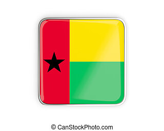 Flag of guinea bissau, square icon with metallic border 3D...