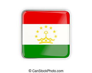 Flag of tajikistan, square icon with metallic border 3D...