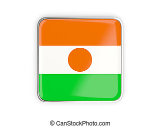 Flag of niger, square icon with metallic border 3D...