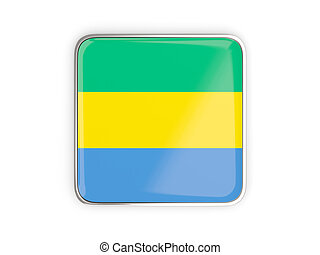 Flag of gabon, square icon with metallic border. 3D...