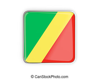 Flag of republic of the congo, square icon with metallic...