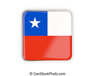 Flag of chile, square icon with metallic border 3D...