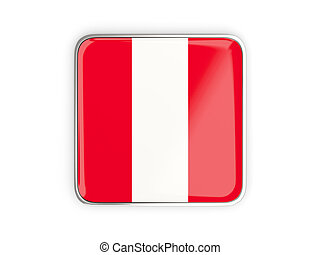 Flag of peru, square icon with metallic border. 3D...