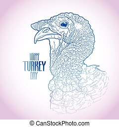 Vector turkey head drawn in line art style. Thanks giving...
