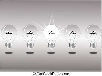 Row of light bulbs on white background