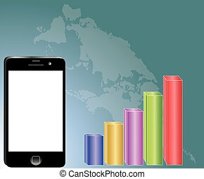 phone and forex business graph illustration  vector