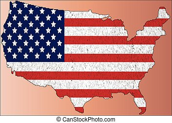Map of United States of America with  flag