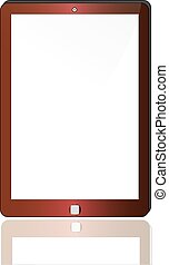 Red abstract tablet computer (tablet pc) on white background, 3d render. Modern portable touch pad device with white screen.