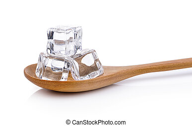 ice cubes in the wood spoon
