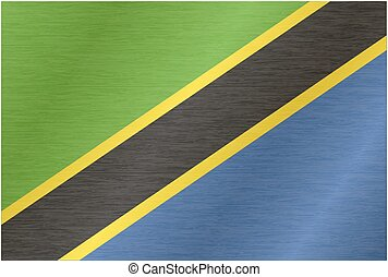 Tanzania flag with title on the white background, vector illustration