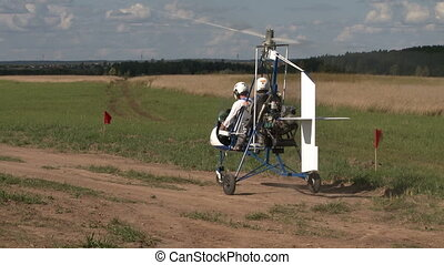 Gyroplane ready to take off. - Gyroplane ready to take off...