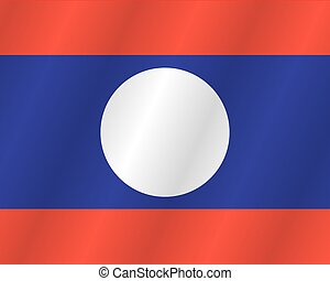 Laos flag with title on the white background