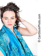 Young woman in shawl - Young model in her mid twenties...