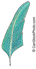 Hand drawn color feather fantasy illustration - Hand drawn...