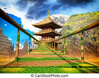 Buddhist temple in mountains with old Japanese rope bridge...