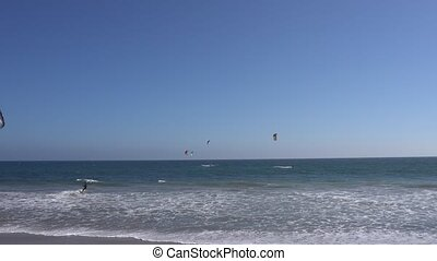 Malibu, California, USA - September 2016: Kitesurfing people...
