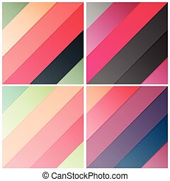 set of retro stripe diagonal pattern with stylish colors, vector illustration