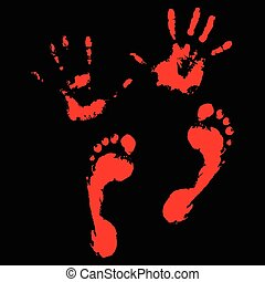Bloody handprints and feet