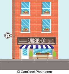 Barbershop design building. Barber shop and hair salon,...