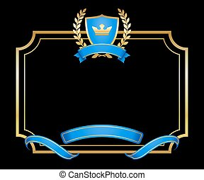 Laurel wreath gold icon shield frame