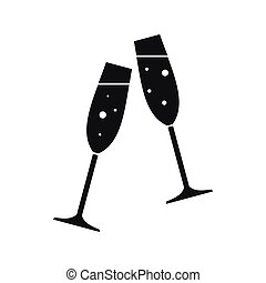 Two glasses of champagne icon, simple style - Two glasses of...