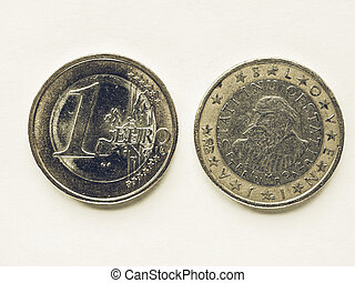 Vintage Slovenian 1 Euro coin - Vintage looking Currency of...