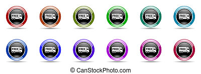 free delivery colorful round web icon set - free delivery...