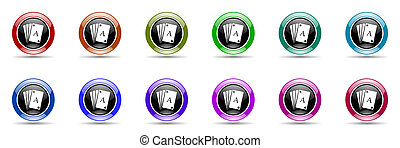 card colorful round web icon set - card round glossy...