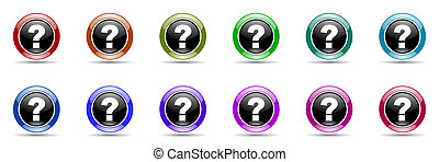 question mark colorful round web icon set - question mark...