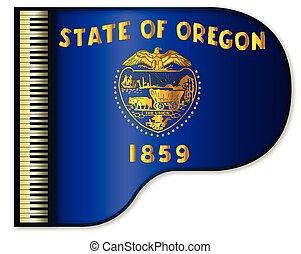Grand Piano Oregon Flag - The Oregon state flag set into a...
