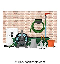 Garden Equipment In Front Of Brick Wall Vector Illustration