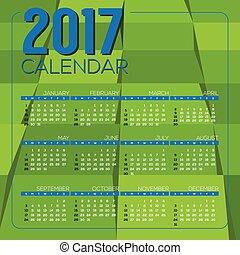 2017 Printable Calendar - Modern Green Geometrics 2017...