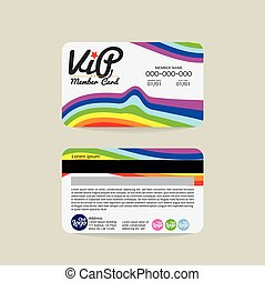 VIP Member Card Template - Front And Back Rainbow Stripes...