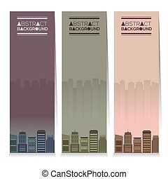 Buildings Vertical Banners - Modern Design Set Of Three...