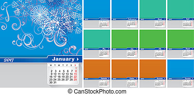 Calendar for 2017 year colorful squares Vector image