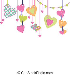 pastel color cartoon hearts hanging lace vector illustration...