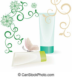green and beige tubes, flourishes and butterfly