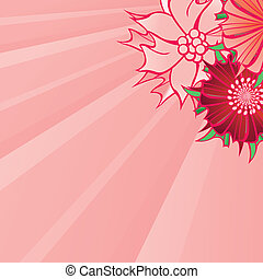 red flower abstract vector square background