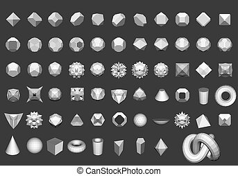 Geometric figures - Set of 64 geometric shapes. Polygon....