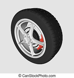 Realistic car wheel.
