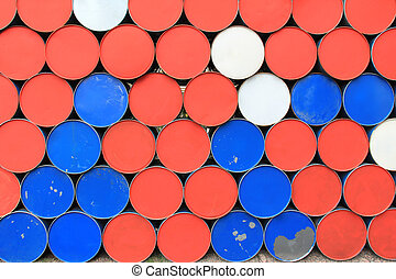 Metal dirty barrels background - Large metal barrels stacked...