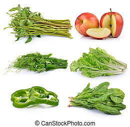 Sliced green pepper, Bunch of fresh chayote, spinach,...